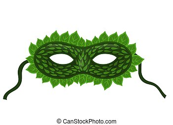 Carnival mask with leaves isolated on a white background. Vector graphics.