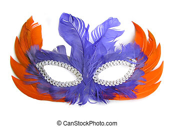 Carnival Mask with orange and purple feathers on white background