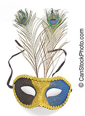 Carnival mask with peacock feathers isolated on white