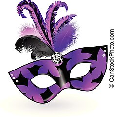 Carnival Mask with pink black lilac feathers on white background. Happy carnival festive concept. Vector illustration . Mardi gras