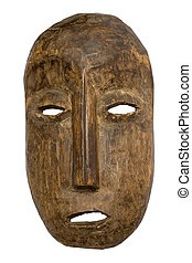 Carnival Mask w/Path - Archaic wooden carnival mask isolated...