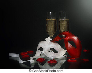 Carnival masks and champagne