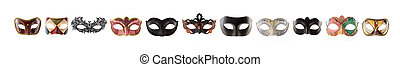 Carnival masks collage isolated on white background