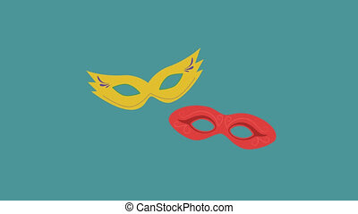 Carnival masks flat design animation icon. loop with alpha...