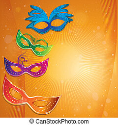 carnival masks - four colored carnival masks with some...