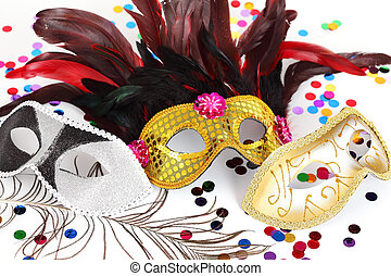 Carnival masks - Carnival mask with confetti on white...