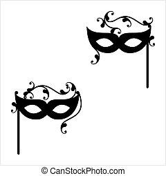 Carnival, Masquerade Mask Icon Design Vector Art...