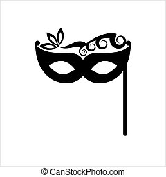 Carnival, Masquerade Mask Icon Vector Art Illustration