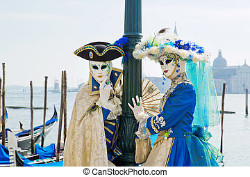 Carnival of Venice, beautiful masks at St. Mark's Square