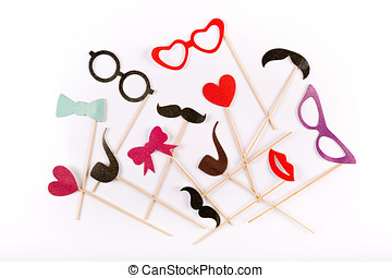 carnival party accessories on white background