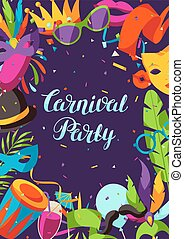Carnival party background with celebration icons, objects...