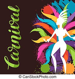 Carnival party background with samba dancer and colorful...