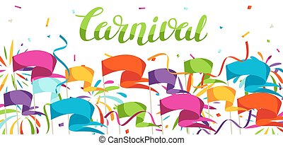 Carnival party banner with colorful flags, streamers and...