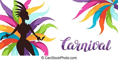 Carnival party banner with samba dancer and colorful...