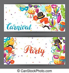 Carnival party banners with celebration icons, objects and...