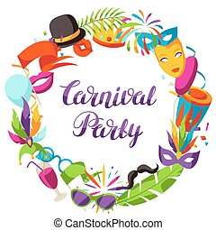Carnival party frame with celebration icons, objects and...