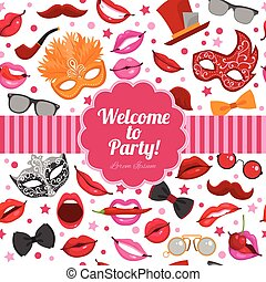 Carnival Party Invitation Festive Flat Poster