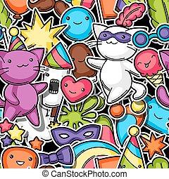 Carnival party kawaii seamless pattern. Cute sticker cats, ...