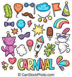 Carnival party kawaii set. Cute cats, decorations for celebration, objects and symbols.