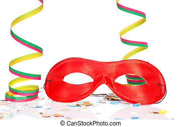 Carnival party - Red mask, ribbons and confetti on white...
