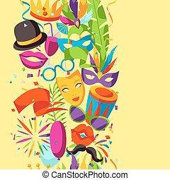 Carnival party seamless pattern with celebration icons,...