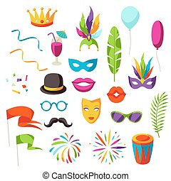 Carnival party set of celebration icons, objects and decor.