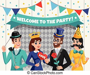 Carnival Photo Booth Party People Composition - Colored...