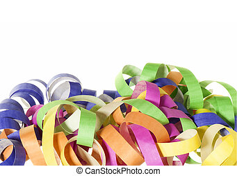Carnival - mask, streamers and confetti on white background