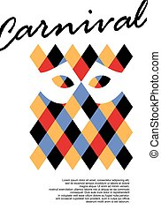 Carnival poster design with harlequin geometric pattern and mask in negative space. Masquerade festival party vector flyer with colorful rhombus template isolated on white background.