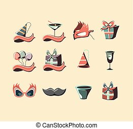 carnival set collection icons