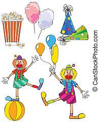 carnival set - vector illustration of popcorn, colorful...