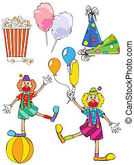 carnival set - vector illustration of popcorn, colorful...