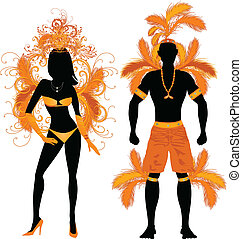 Carnival Silhouette Orange Couple - Vector Illustration...