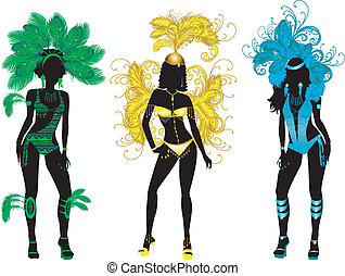 Carnival Silhouettes - Vector Illustration for Carnival 3...