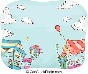 Illustration of Carnival Stores Selling a Variety of Goods