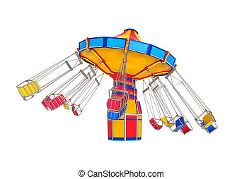 Carnival Swing Ride isolated on white background. 3D render