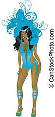 Carnival Teal Girl - Vector Illustration for carnival...
