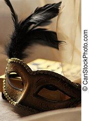 Carnival venetian mask on organza background