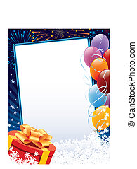 Carnival winter decoration with copy space, balloons and...