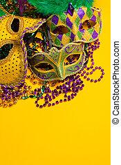 carnivale, festivo, veneciano, gras, grupo, masks., colorido...