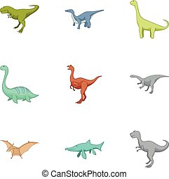 Carnivorous dinosaurs icons set, cartoon style