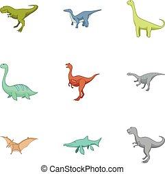 Carnivorous dinosaurs icons set, cartoon style