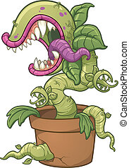 Evil carnivorous cartoon plant. Vector clip art illustration with simple gradients. All in a single layer.