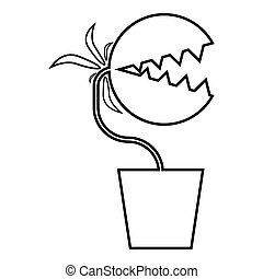 Carnivorous plant Flytrap Monster with teeths in pot icon ...