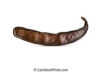 Carob, ceratonia siliqua - Raw fruits Carob on old juta...