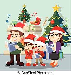 carol, cantando, natal, família