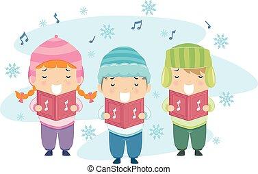 carol, crianças, stickman, natal