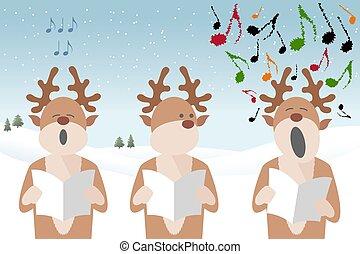 carol singing reindeer