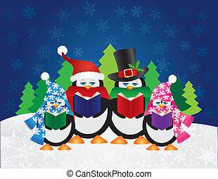 carolers, 夜, ペンギン, 冬場面