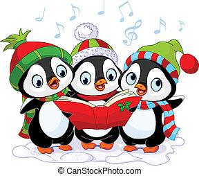 carolers, kerstmis, pinquins